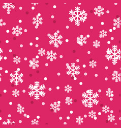 red white christmas snowflakes seamless pattern vector image