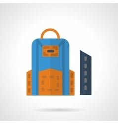 School bag and pencil box flat color icon vector