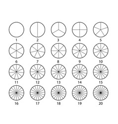 Segmented circles set isolated on a white vector