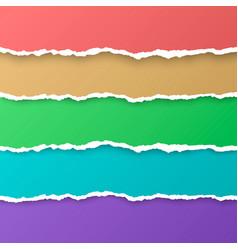 set color rainbow torn paper stripes paper vector image