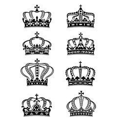 set heraldic royal crowns vector image