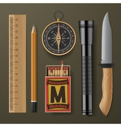 Set of camping hiking equipment vector image