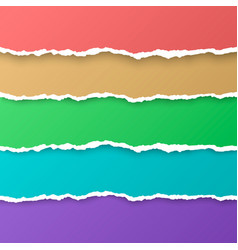 set of color rainbow torn paper stripes paper vector image