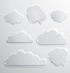 Set of glass speech bubbles clouds and icons vector image