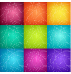 Set of nine colorful geometric backgrounds vector