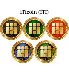 Set of physical golden coin iticoin iti vector