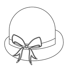 Silhouette lace bowler hat with bow retro design vector