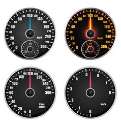 Speedometer indicator mockup set realistic style vector