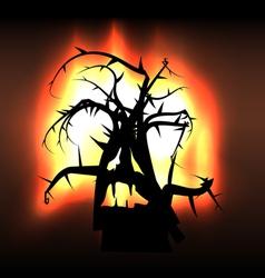 Spooky monster creature tree in flames vector
