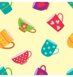 Tea cups pattern vector image