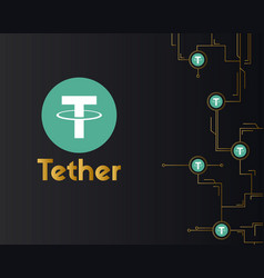 Tether cryptocurrency virtual on dark background vector