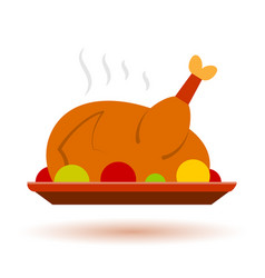 Thanksgiving cristmas color turkey icon vector