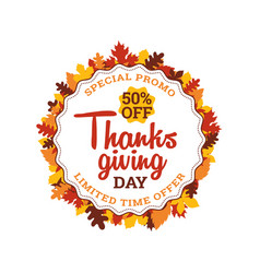 thanksgiving day super sale 50 off typography vector image