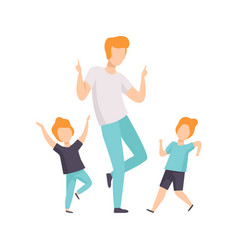Two boys and dad dancing children having fun with vector