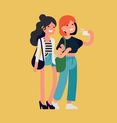 two female best friends having great time vector image