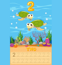 Two sea turtle number worksheet vector