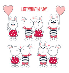 Valentines day rabbits collection vector