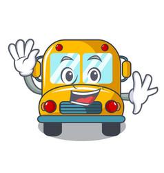 waving school bus character cartoon vector image