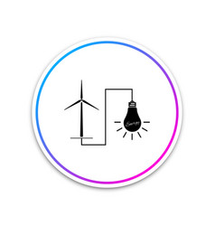 wind mill turbine generating energy and light bulb vector image