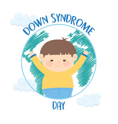 World down syndrome day happy little boy in map vector
