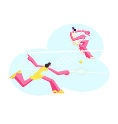 young girls in sportswear play big tennis on court vector image