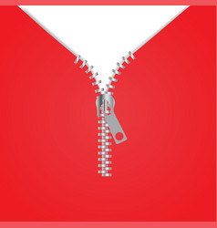 zipper icon red background vector image