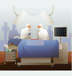 surgeons during operation flat composition vector image