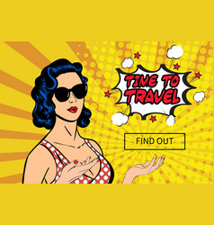 vintage pop art lady vector image vector image