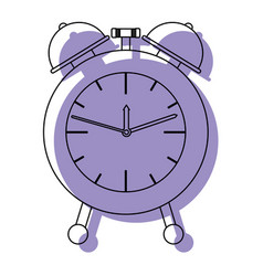 alarm clock purple watercolor silhouette on white vector image vector image