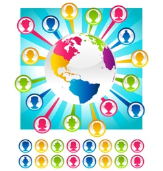 Colorful Bursting Planet and People Icons vector image vector image