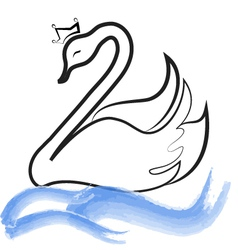 Swan with crown silhouette on lake vector image