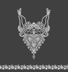 floral neckline and lace border design for fashion vector image
