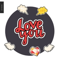 Love youpatches lettering vector image vector image