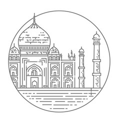 outline of taj mahal palace icon vector image