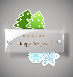 Square glass board with christmas greetings vector image vector image