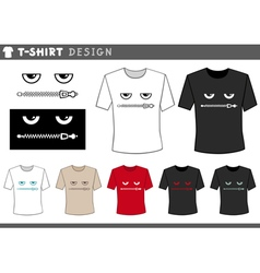 T shirt design with zipped lips vector
