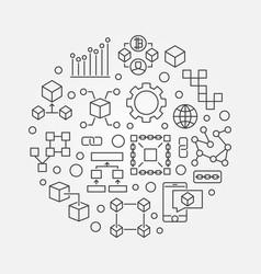 blockchain round concept line vector image vector image