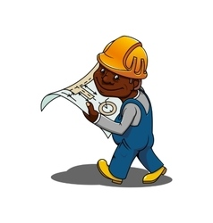 Cartoon engineer or builder with blueprint vector image