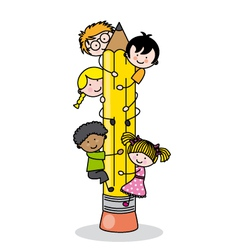 children climbing up a pencil vector image vector image