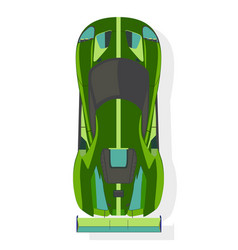 green sport car top view in flat style isolated vector image