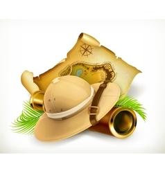 Pith helmet treasure map adventure icon vector