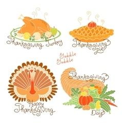 Set of color drawings to Thanksgiving Day Autumn vector image vector image
