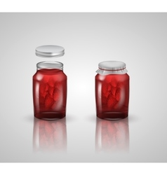 strawberry jam on white background vector image