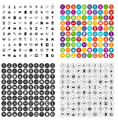 100 archeology icons set variant vector