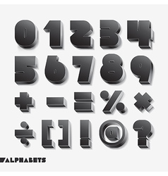3D alphabet number black color vector image