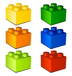 3d children plastic bricks toy vector