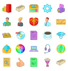 Aggressive marketing icons set cartoon style vector
