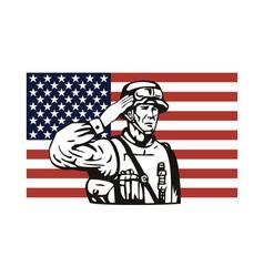 American soldier serviceman saluting vector