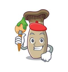 artist king trumpet mushroom character cartoon vector image