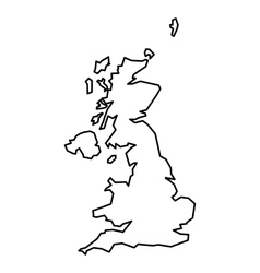 Black contour map of United Kingdom vector image